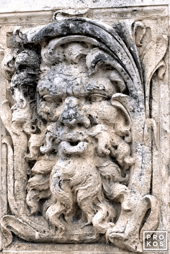 A coralstone architectural detail representing Aeolus, God of the Winds, at Vizcaya Museum, Miami, Florida