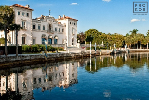A view of Vizcaya Museum's waterfront facade, Miami, Florida