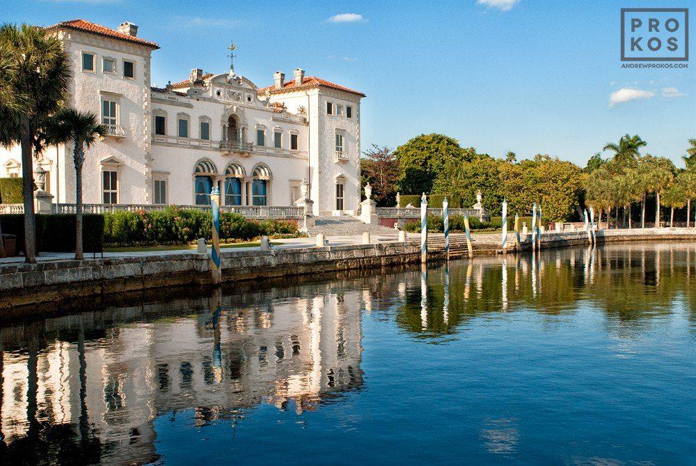 A view of Vizcaya Museum's waterfront facade, Miami, Florida