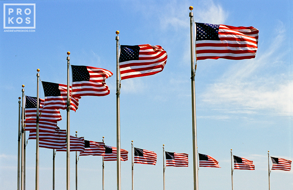 Detail of the American flags which encircle the Washington Monument, Washington DC
