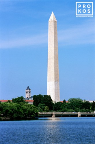 A view of the Washington Monument from the Tidal Basin in Washington DC
