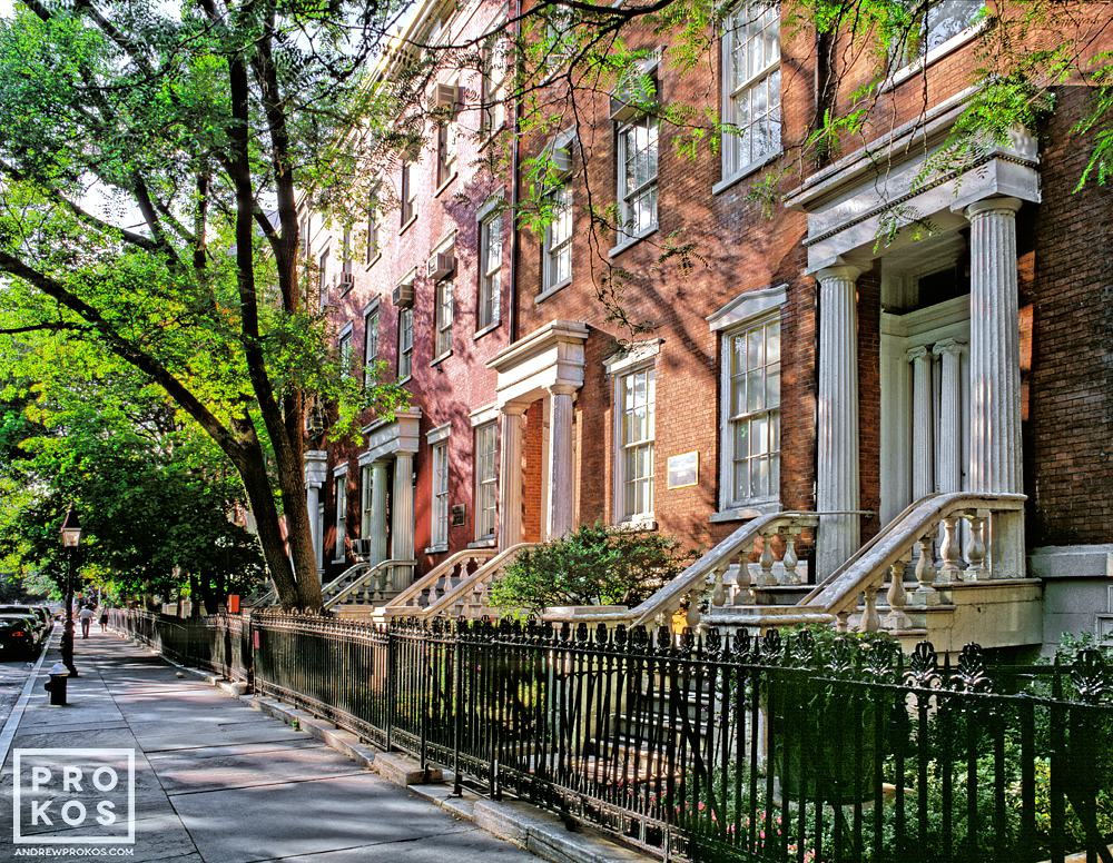 A row of elegant townhouses along Washington Square North in Greenwich Village, New York City