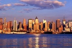 A panoramic skyline photo of Midtown Manhattan as seen from Weehawken, New Jersey