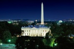 A panoramic photo of the White House, Washington Monument, Jefferson Memorial, and the Mall at night, Washington DC
