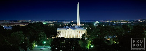 "An ultra high-definition panoramic view of the White House, Washington Monument, Jefferson Memorial, and the National Mall at night, Washington DC. Large-scale fine art prints of this photo are available up to 120"" in size."
