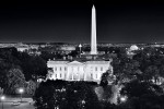 A black and white view of the White House, Washington Monument, Jefferson Memorial, and the Mall at night, Washington DC