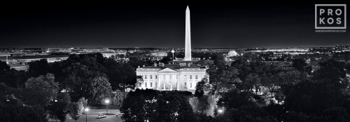 An ultra high-definition black and white panorama of the White House, Washington Monument, Jefferson Memorial, and the Mall at night, Washington DC. Large-format fine art prints of this photo are available up to 120 inches wide.