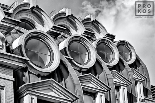 A fine art architectural photo of the windows of the famous Willard Hotel in black and white, Washington DC