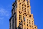A view of the Woolworth Building at sunset, New York City