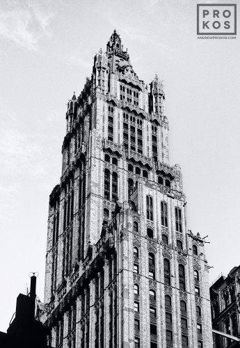 A black and white architectural photo of the Woolworth Building in black and white, New York City