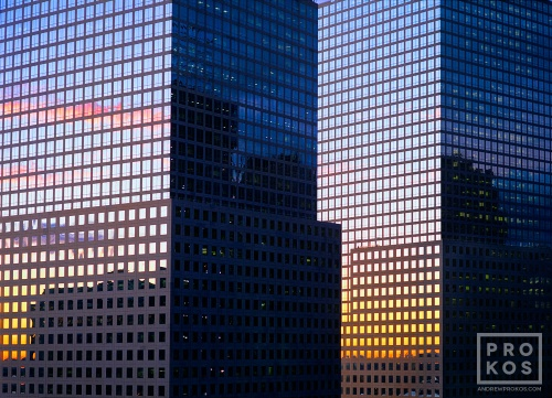 A view of the World Financial Center buildings at sunset, New York City.