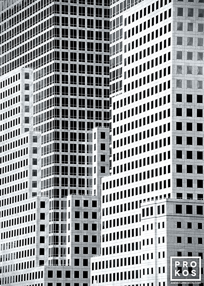 A black and white architectural detail from the World Financial Center, New York City