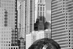 A black and white photo of the World Financial Center and Woolworth Buildingfrom the Hudson River, New York City