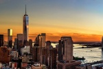 An ultra high-definition panoramic photo of the World Trade Center, Lower Manhattan, Tribeca, and the Hudson River at sunset. Large-scale fine art prints of this photo are available up to 9o inches wide.