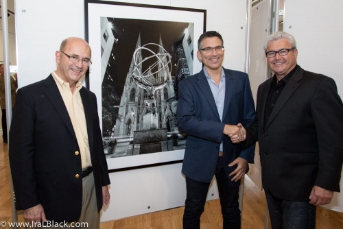 Andrew with 70 South Gallery owner Ted Baldanza (left) and Morristown mayor Timothy Dougherty at the inaugural exhibition