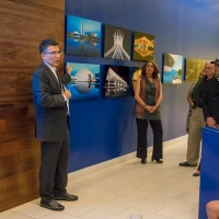 "Andrew speaking at the opening of ""Brazil: Night & Day – Photographs by Andrew Prokos"" solo exhibition at Banco do Brasil in New York City"