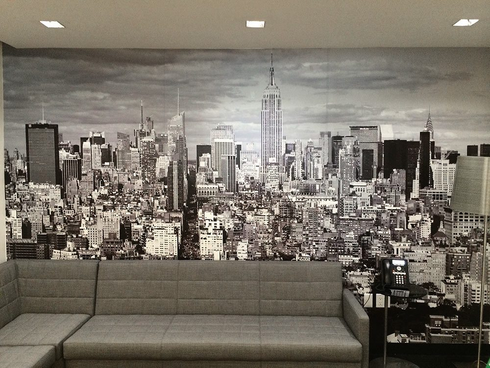 Wall mural of New York City skyline by photographer Andrew Prokos