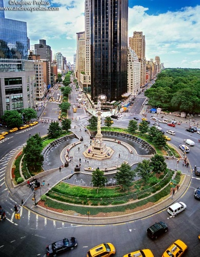 elevated view of columbus circle