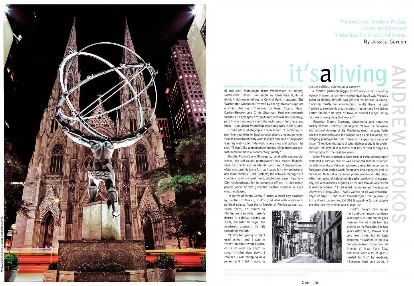 PDNedu magazine article about photographer Andrew Prokos